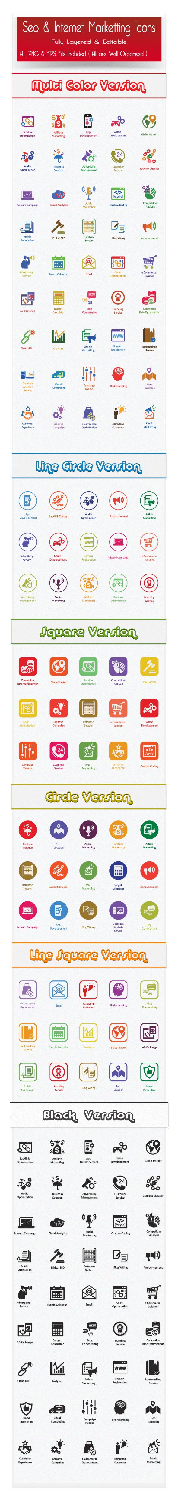Flat SEO Icons and Internet Marketing Icons