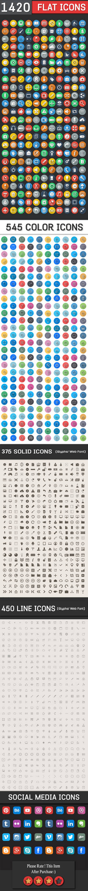 1420 Flat Icons - Colorful Icons Set