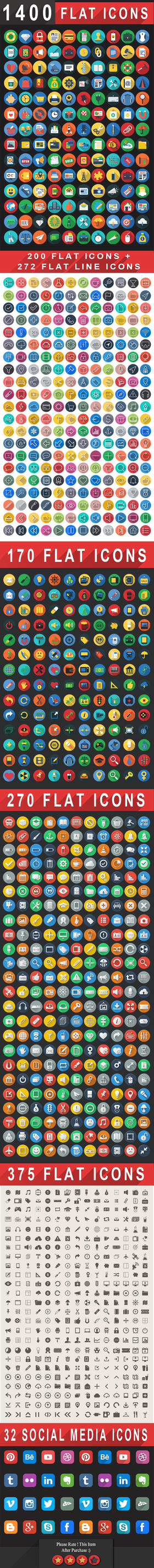 1400+ Flat Icons - Colorful Flat Icons Set   iOS9 by CURSORCH