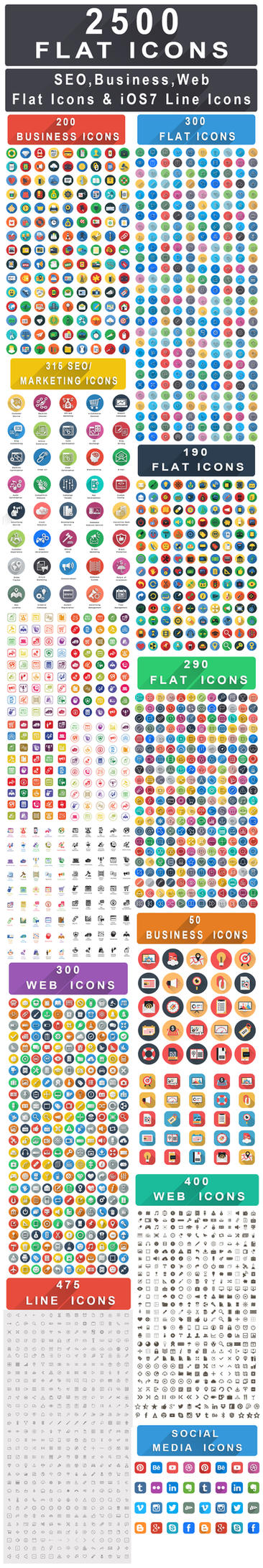 2500+ Flat Icons Bundle : Web, Seo, Business Icons by CURSORCH
