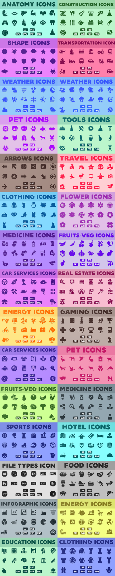 Vector Icons Bundle | Glyph Icons - Solid Icon by CURSORCH