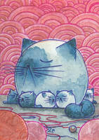 Cats ACEO ATC Serias Mother and baby by Siriliya