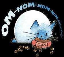 Om-nom-nom cat print by Siriliya