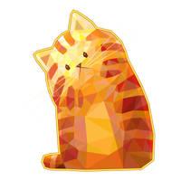 Orange Polygonal Cat by Siriliya