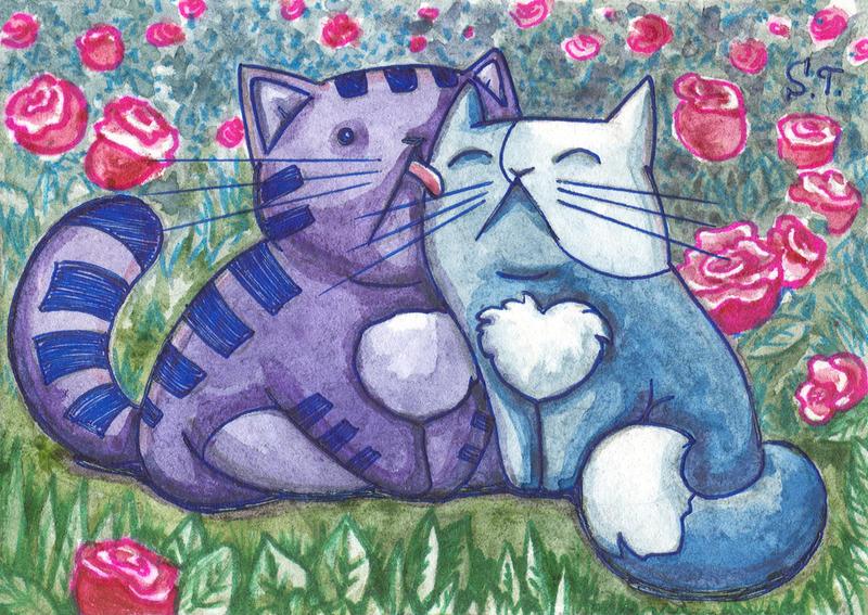 ACEO Love in a rose garden by Siriliya