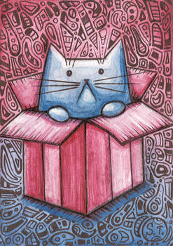 ACEO Cat in a box zentangle