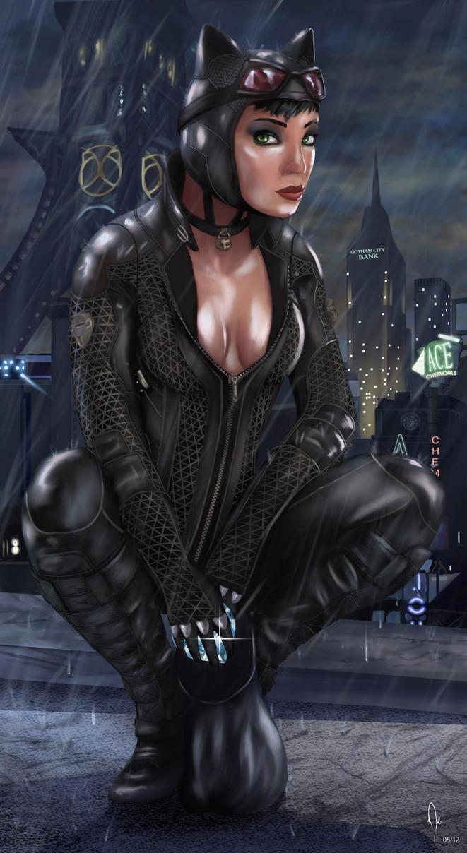 Batman Arkham City - Catwoman (Wet) by RuddsArt on DeviantArt