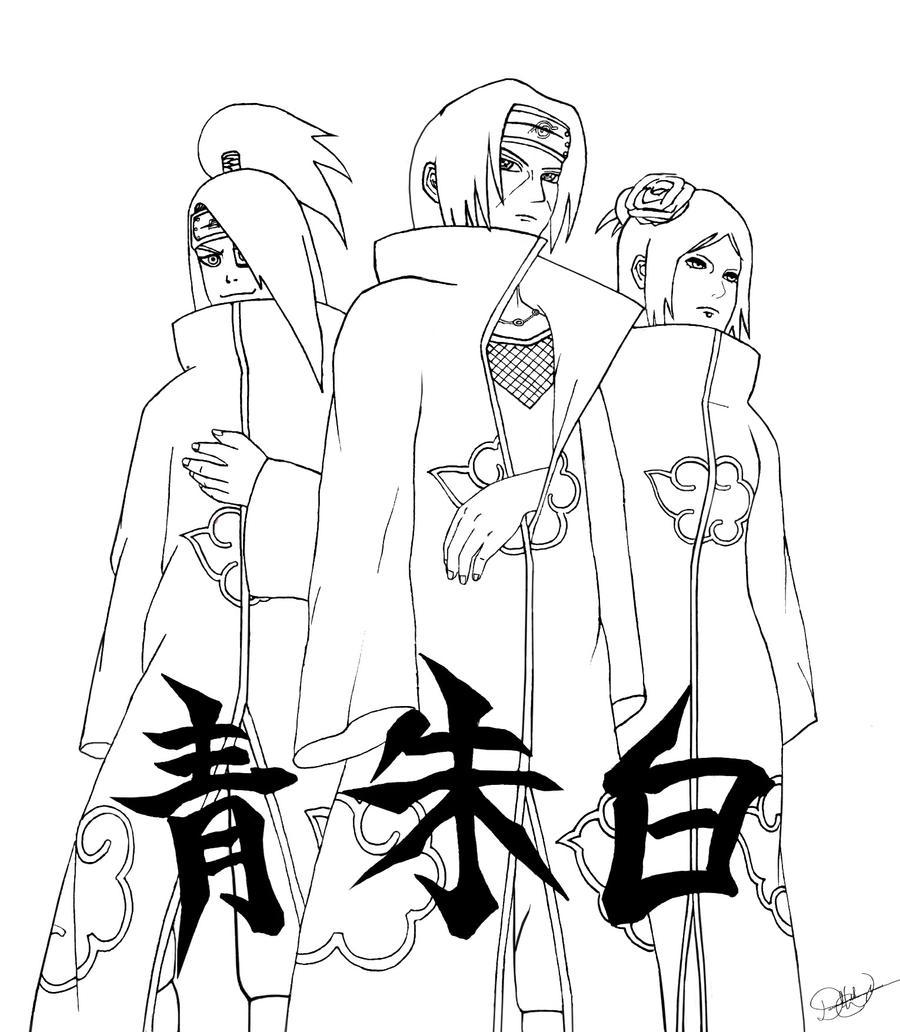Akatsuki Elite Line Art by free-energy03 on deviantART