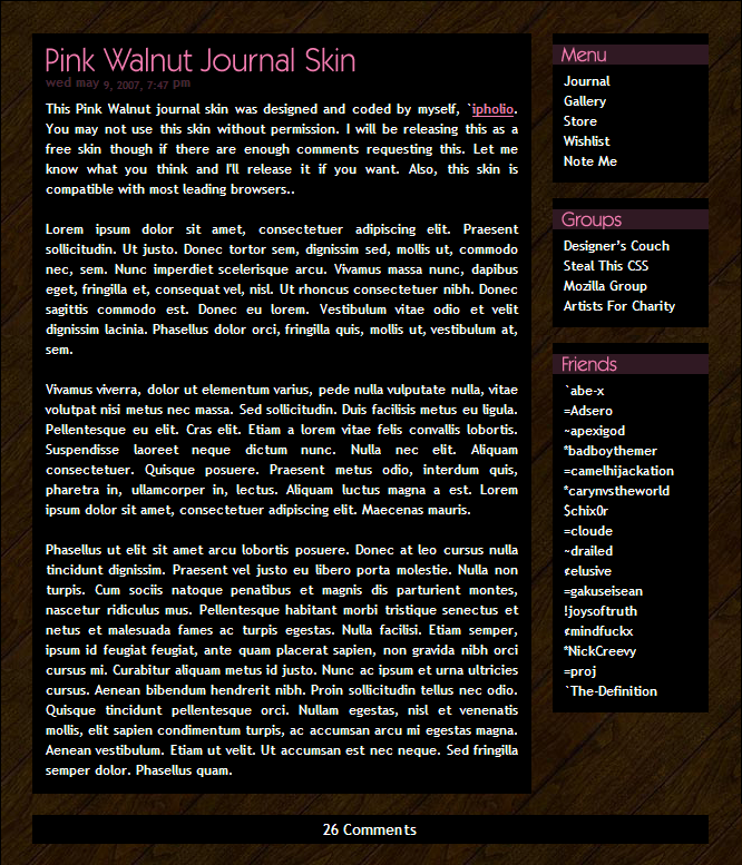 Pink Walnut Journal Skin by ipholio