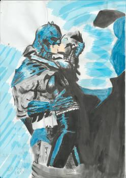 Batman kisses Catwoman