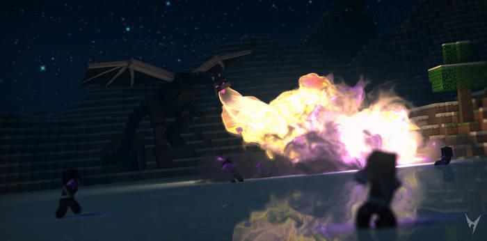 EnderDragon Fire Breathing - Minecraft Wallpaper