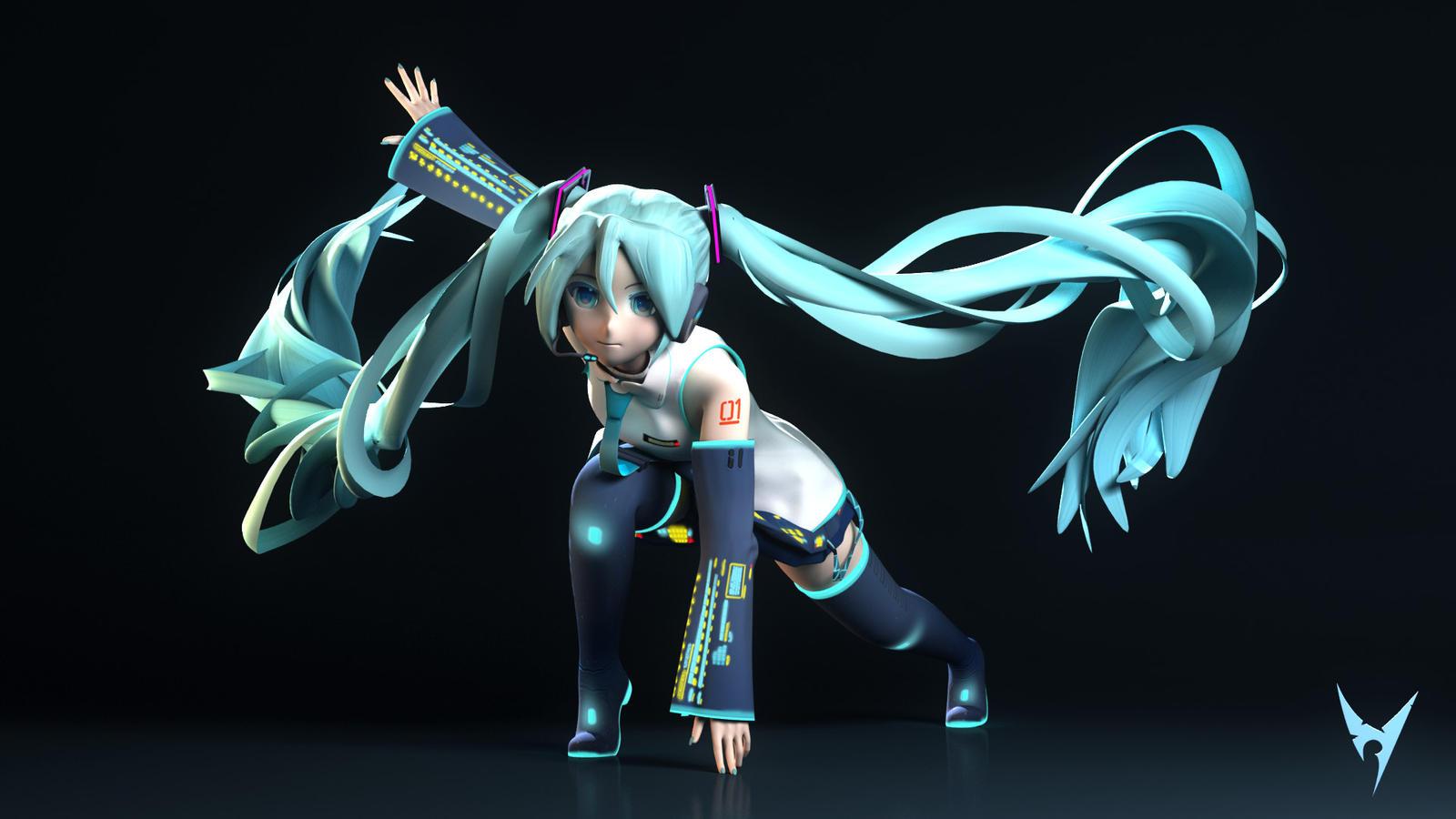 Hatsune Miku -- Pose#01 by Victim753