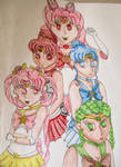 Sailor Pink Moon and her Asteroid Quartet by TheAnomally