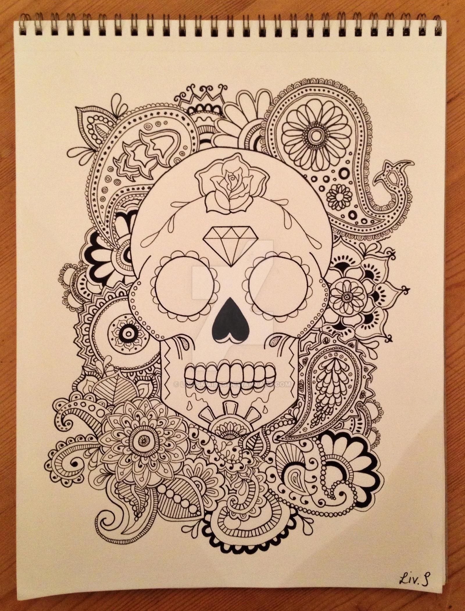 Skull Henna Tattoo: Sugar Skull X Henna Print By Livvsmailes On DeviantArt