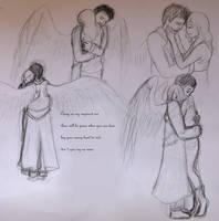 Castiel needs a hug - SPN fanart sketch c: by Evaldrynn