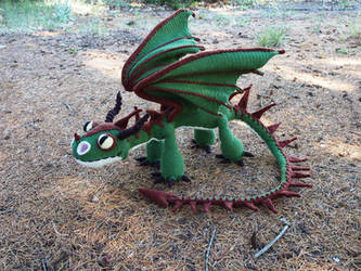 Terrible Terror crochet dragon 2 - green and brown