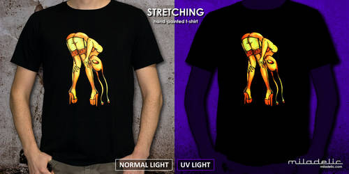 STRETCHING - fluorescent, hand painted tee