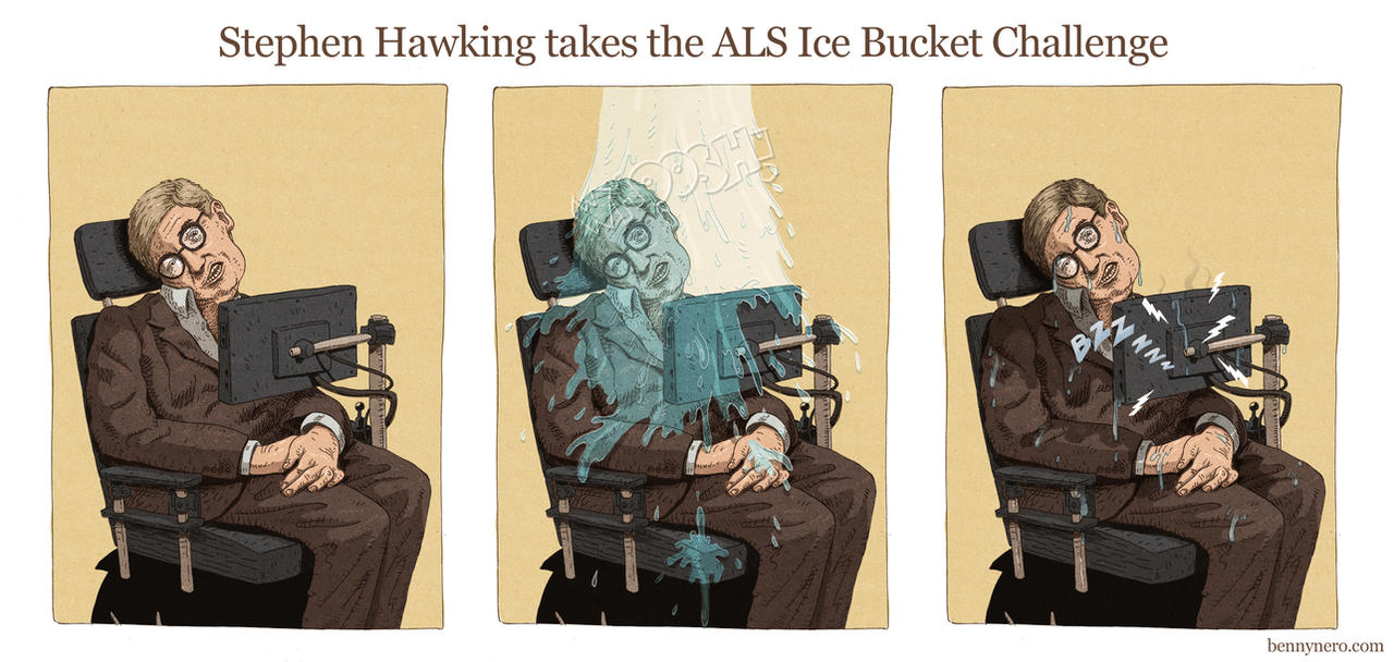 Stephen Hawking takes the Ice Bucket Challenge by bennynero