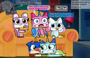 Unikitty and her friends watch a movie! :3 by Officer-JudyHopps