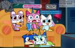 Unikitty and her friends watch a movie! :3