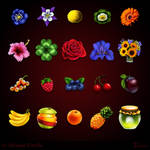 Game Icons - Flowers and Fruit