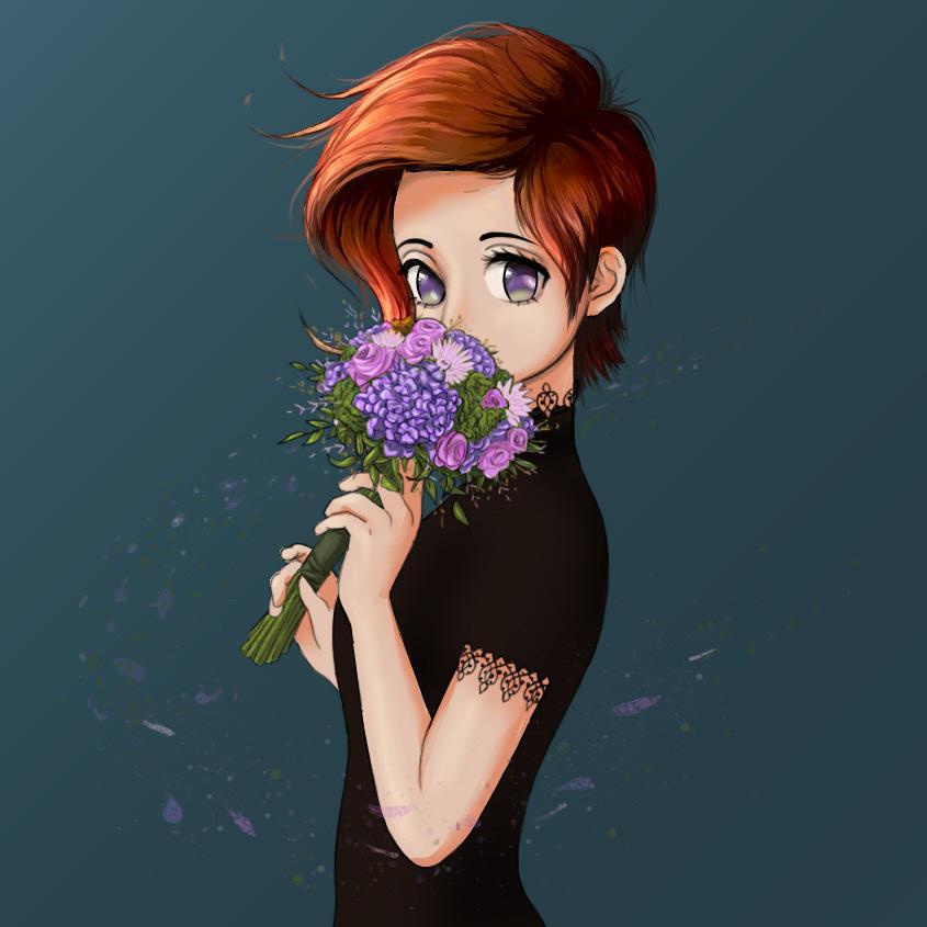 Flower Wind Anime Portrait