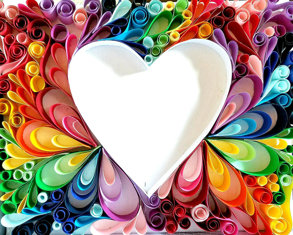 'Rainbow Heart' Paper Quilling by Abstract-Anomaly