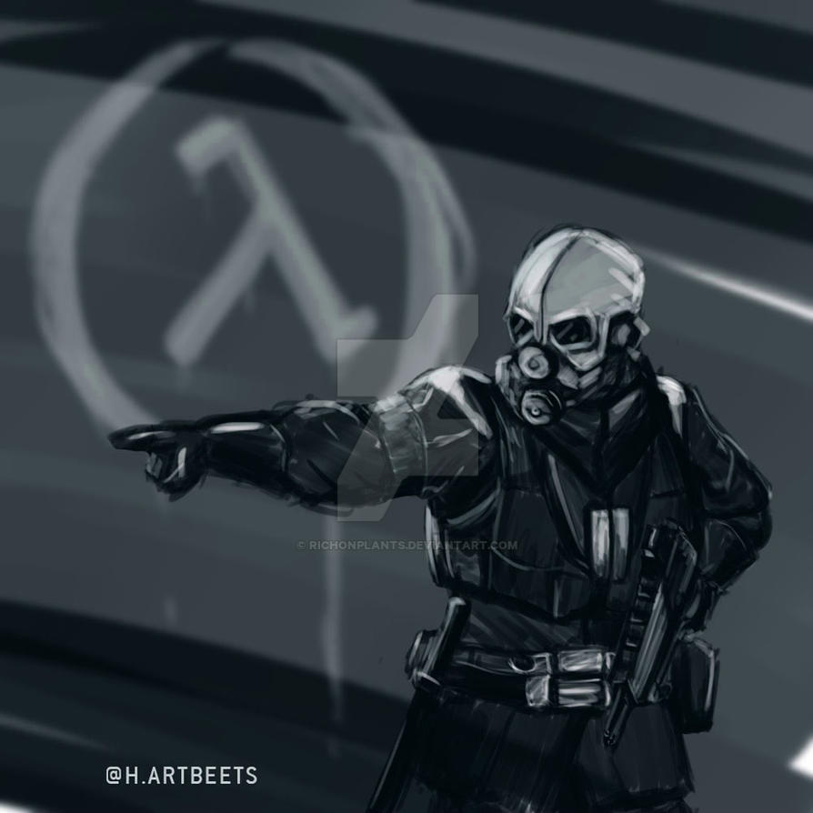 half life 2 civil protection daily sketch by richonplants on