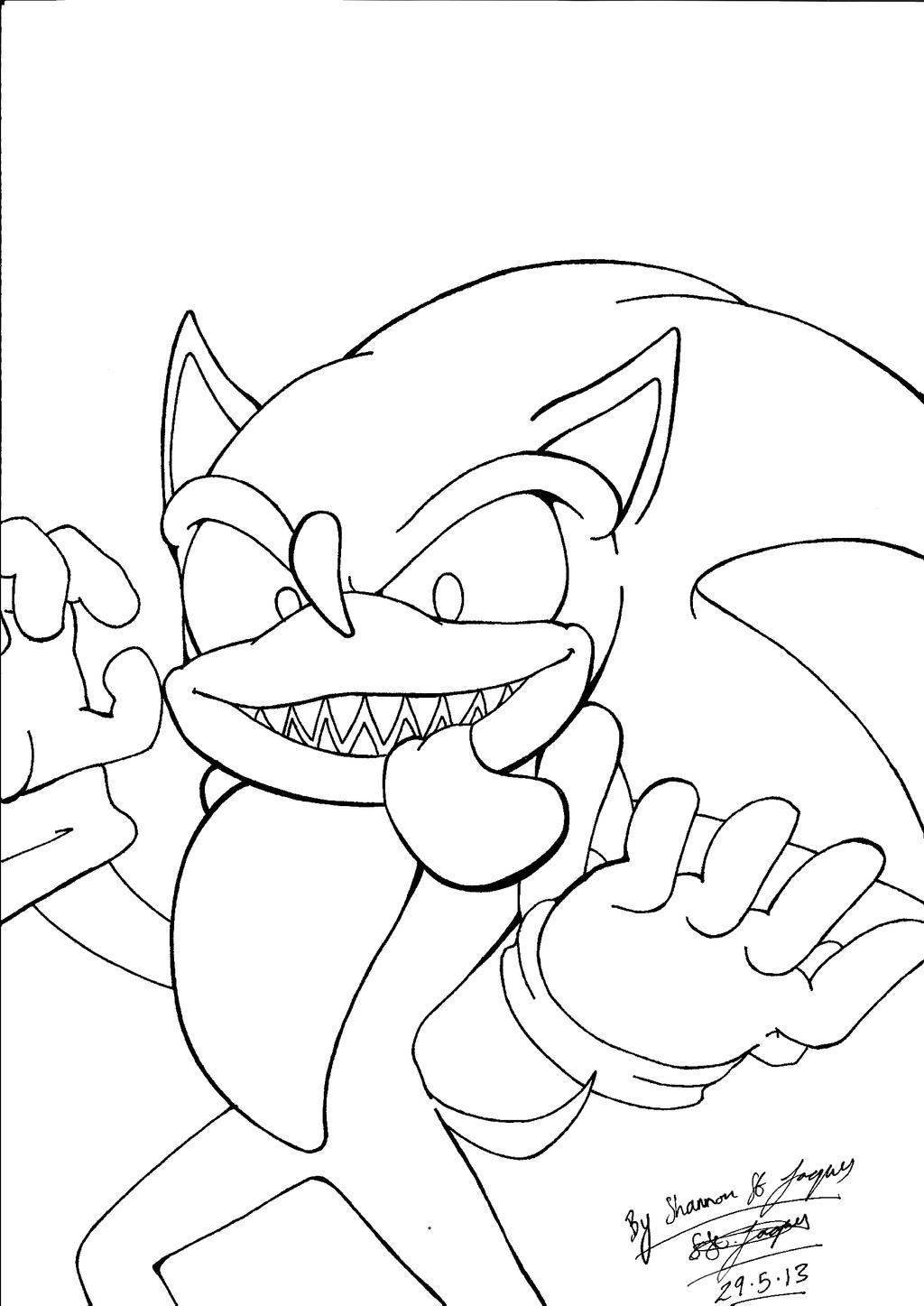 Sonic Exe Free Colouring Pages