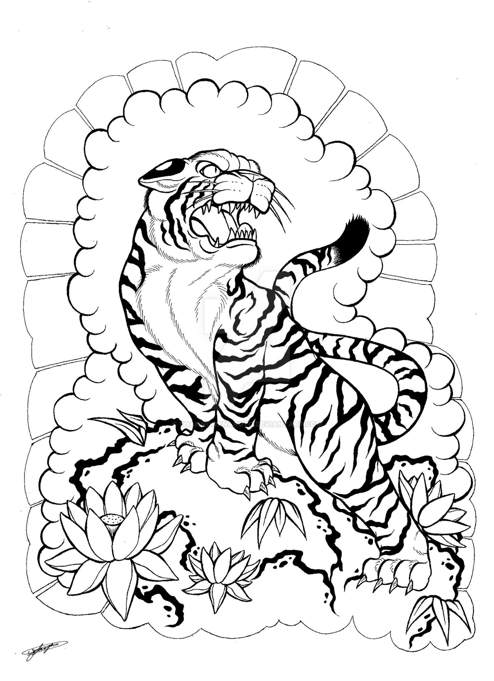 My Japanese Tiger And Floral Tattoo Design 3 By Shannonxnaruto On
