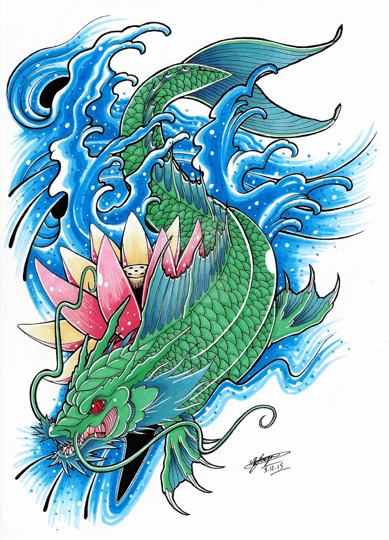 my koi dragon tattoo design coloured 3 by shannonxnaruto on deviantart. Black Bedroom Furniture Sets. Home Design Ideas
