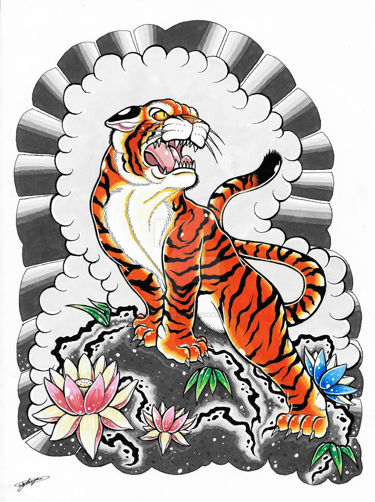 My Japanese Tiger Tattoo Design Coloured 3 By Shannonxnaruto On