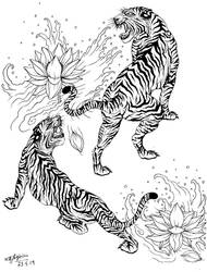 Japanese Tattoo Design: The Power of Two Tigers. by ShannonxNaruto