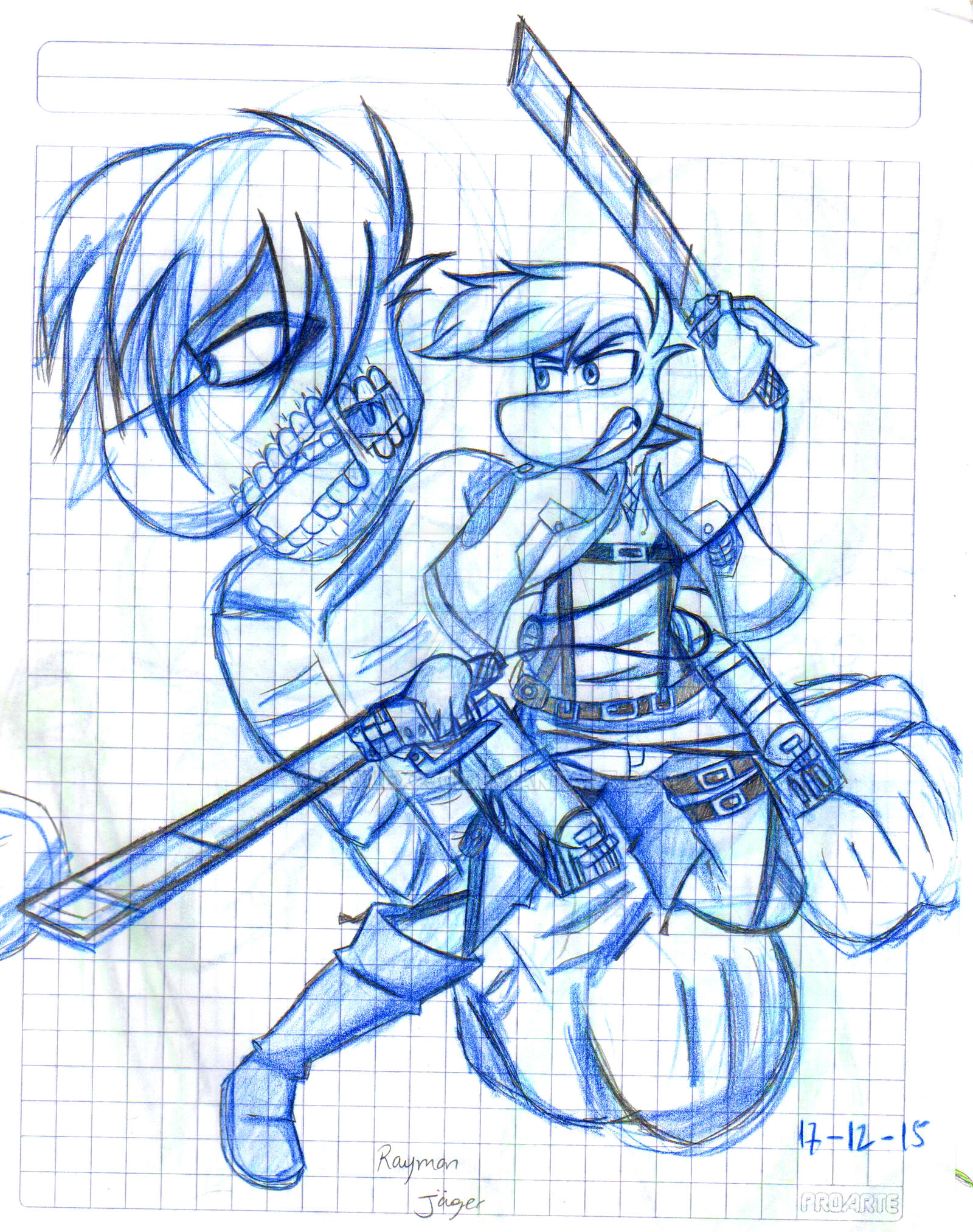 Shingeki No Kyojin RV Rayman Jaeger Sketch By Raylex230