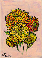 marigolds and mums by pinupsbykeeegan