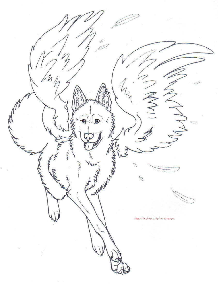 Free Winged Wolf Lines by PashaKL on DeviantArt