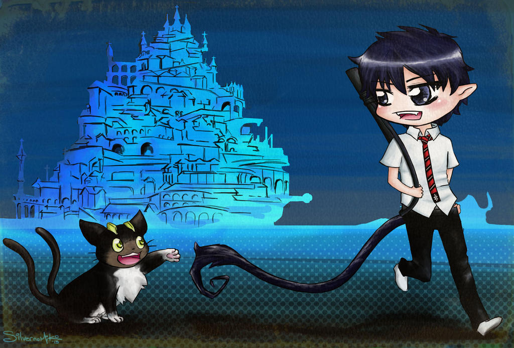 Blue Exorcist chibi Rin and Kuro by silvernomiko