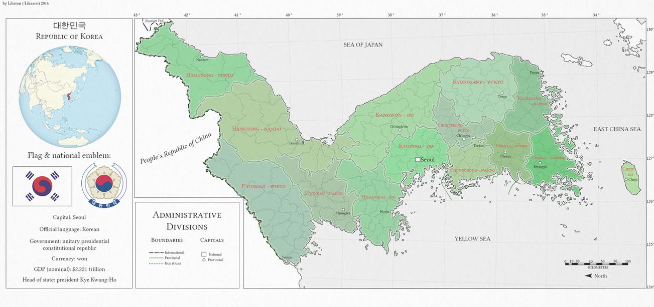 Republic of Korea alternate history map by Likaaon on DeviantArt