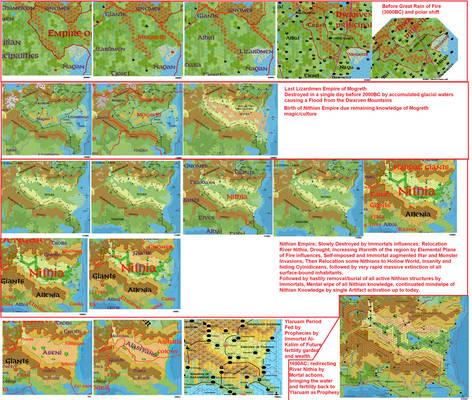 Mogreth-Nithia-Ylaruam research compilation maps