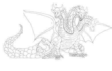 Trident Dragion lineart by Bloo-DKai12