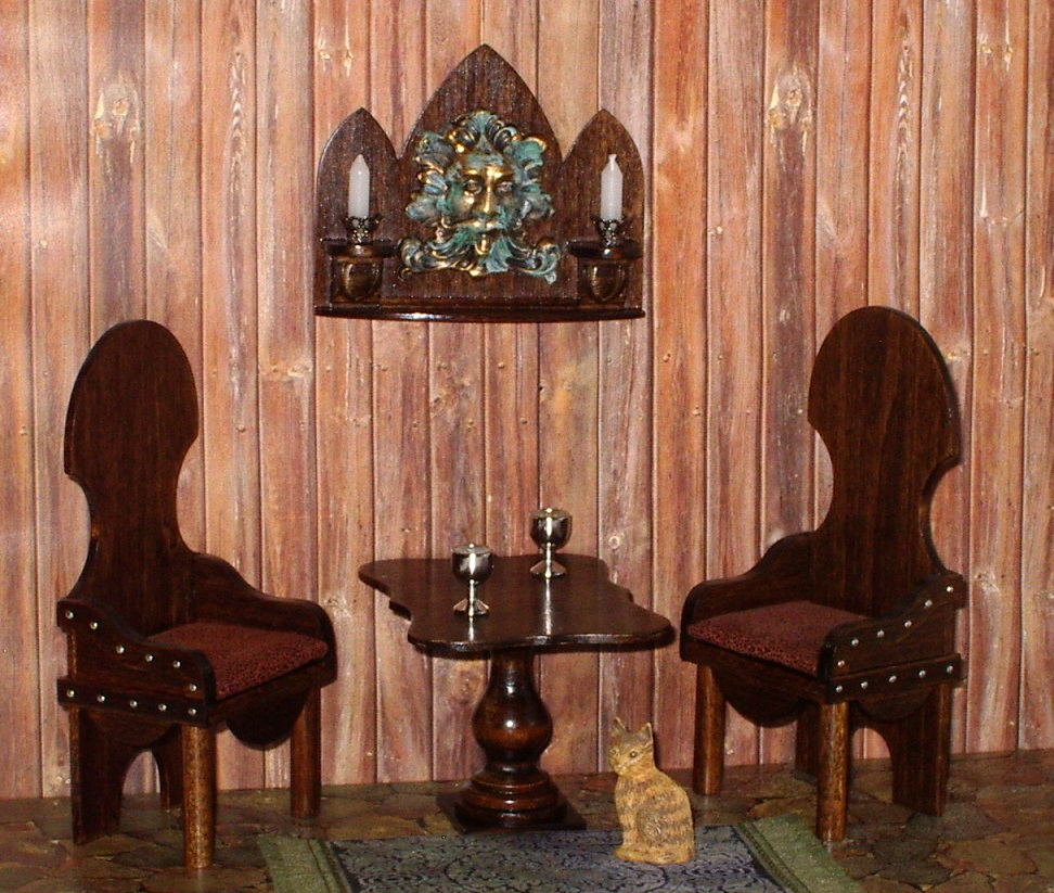 Bacchus + Dragon Age Chairs, Dollhouse Miniatures By