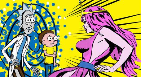 Rick Morty and Bubblegum by richardnixon1968