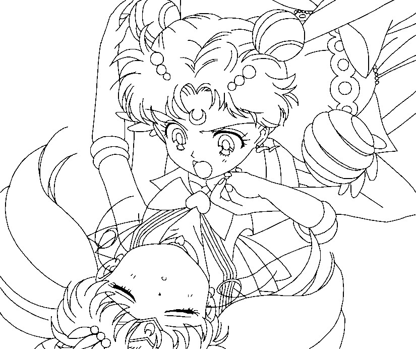 Super sailor moon and chibimoon coloring page 2 by for Sailor moon group coloring pages