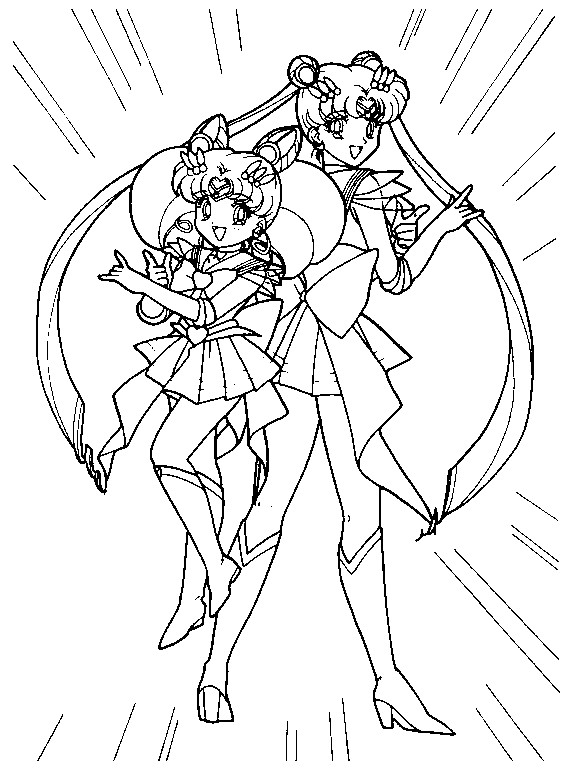 Super Sailor Moon And Chibimoon Coloring Page 4 By Sailortwilight Sailor Moon Coloring Pages