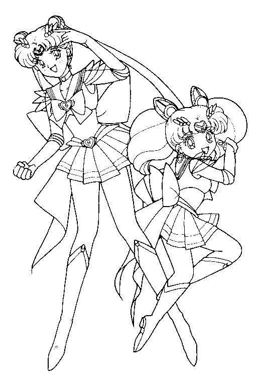 Super sailor moon and chibimoon coloring page 5 by for Sailor moon group coloring pages
