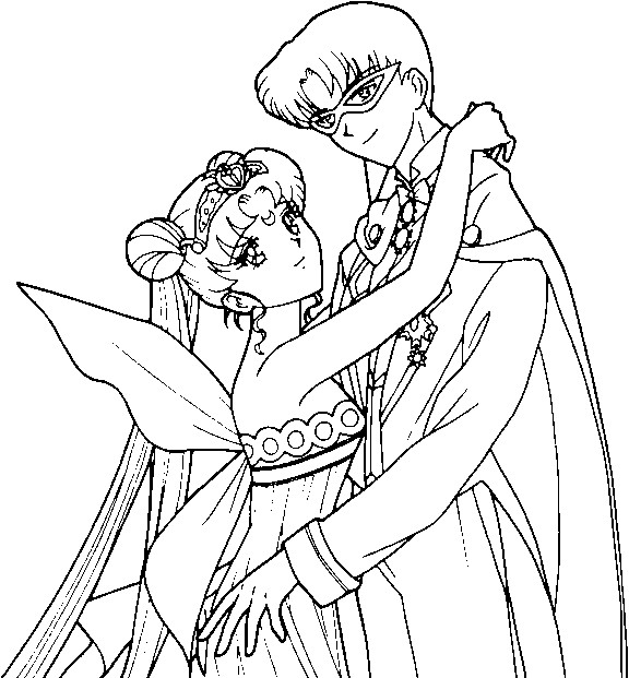 queen serenity coloring pages | Neo Queen Serenity and King Endymion Coloring Page by ...