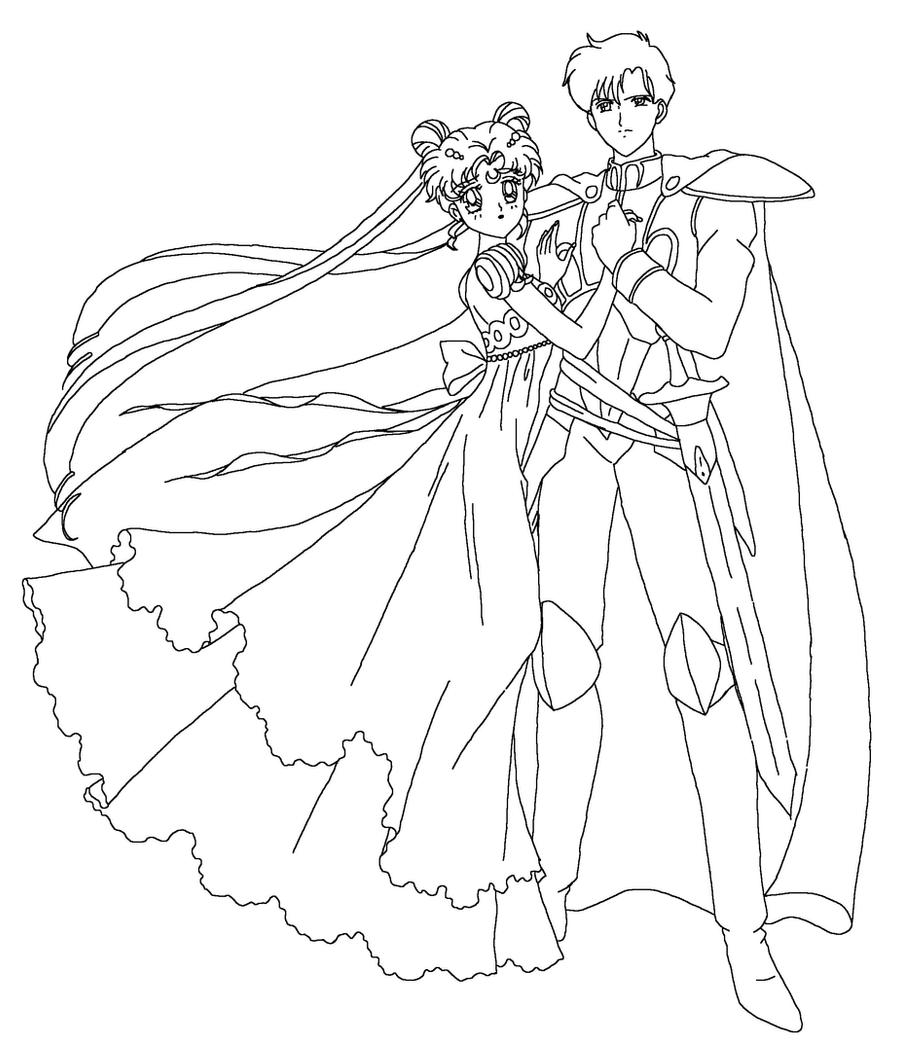 Serenity and endymion coloring page by sailortwilight on for Sailor moon group coloring pages