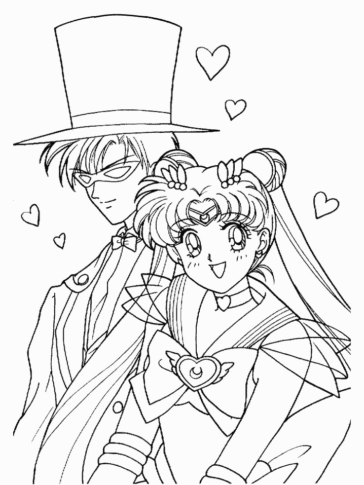 Super Sailor Moon and Tuxedo Mask Coloring Page by ...