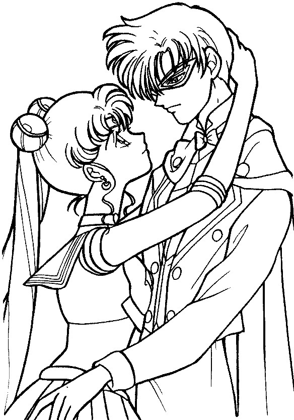 sailor moon and endymion coloring page by sailortwilight - Sailor Moon Coloring Pages