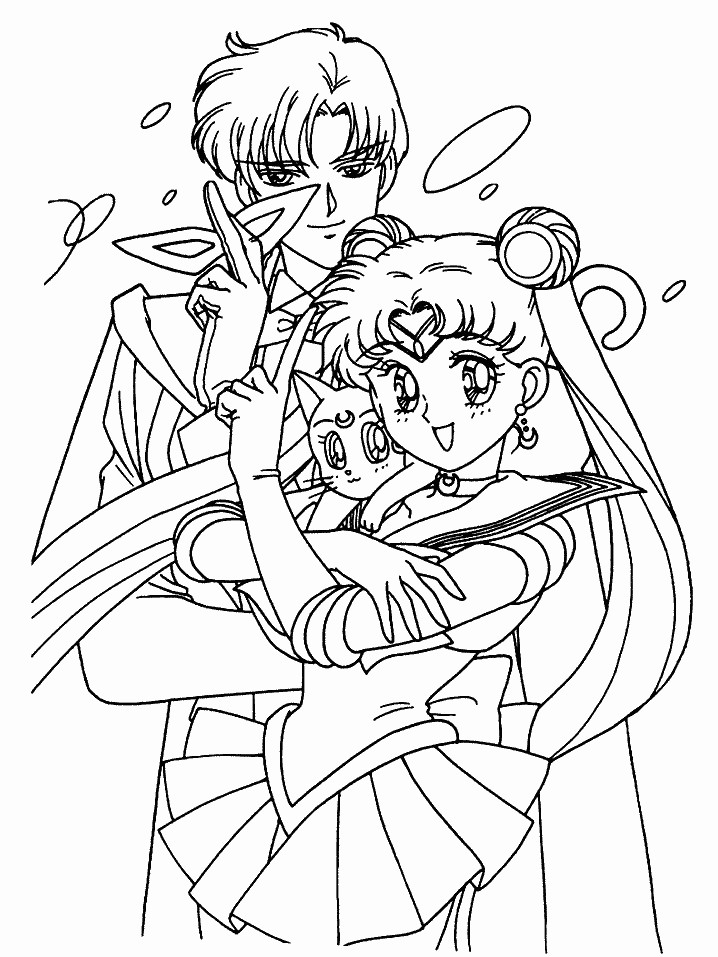 Sailor moon tuxedo mask and luna coloring page by for Sailor moon group coloring pages